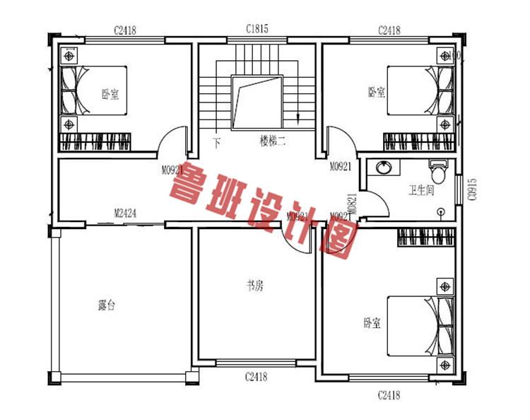三层带地下室别墅洋房设计三层户型图