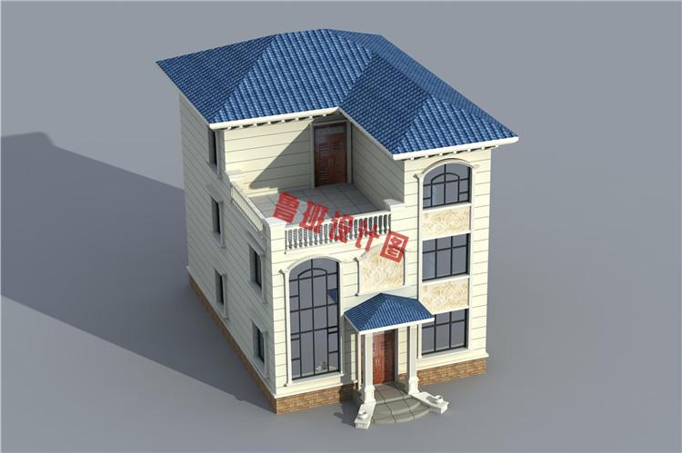 120平三层别墅设计鸟瞰图