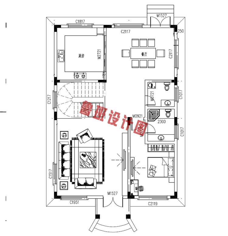 120平三层别墅设计一层户型图