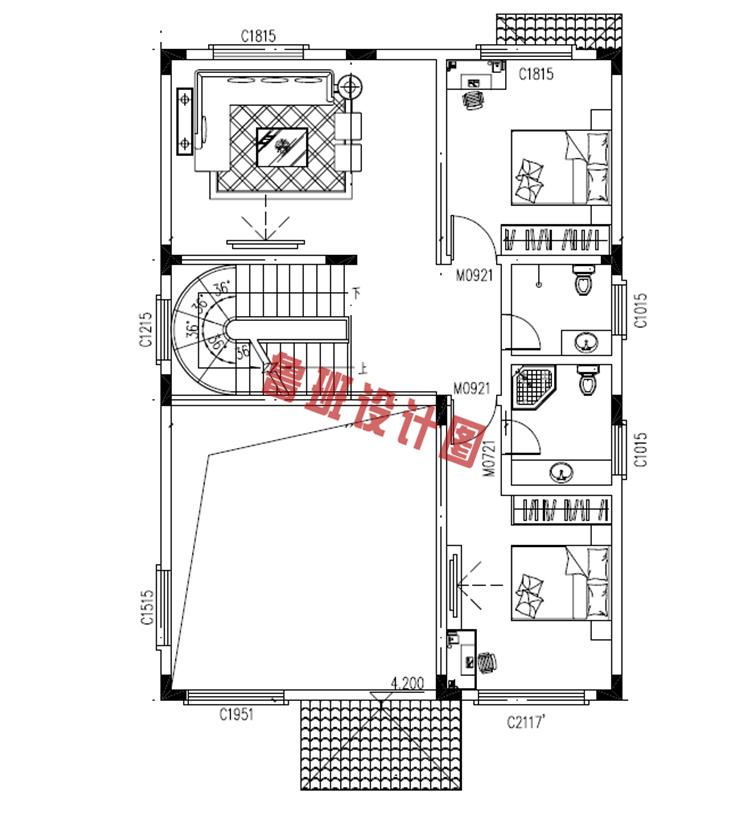 120平三层别墅设计二层户型图