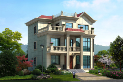 30-35万三层复式别墅洋楼设计图,房子整体造型美观