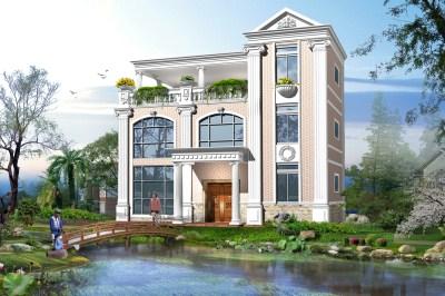 带空中花园的欧式三层别墅设计图,人丁兴旺日子才算红火。