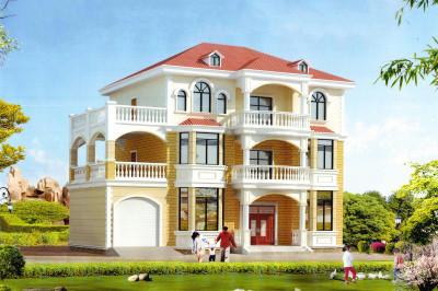 三层带独立车库别墅房屋设计图,车库上有屋顶花园