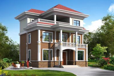 农村三层110平方别墅设计图,含外观图片-楼中楼三层自建房别墅设