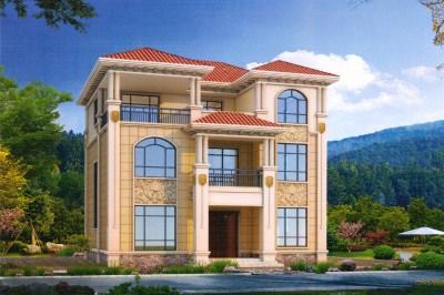 农村40万三层别墅设计图,含外观图片,建好有面子