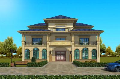 左右对称的简欧式高端大气三层别墅设计图,平面布局合理紧凑