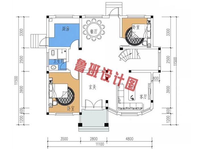 三层复式别墅设计一层户型图