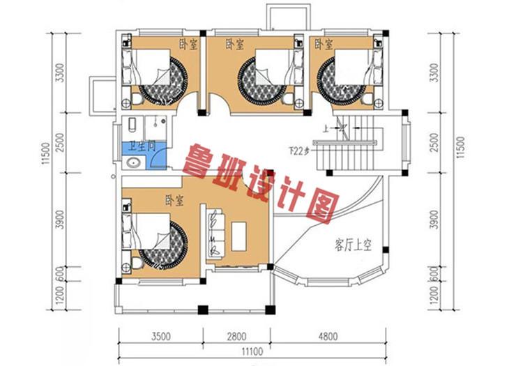 三层复式别墅设计二层户型图