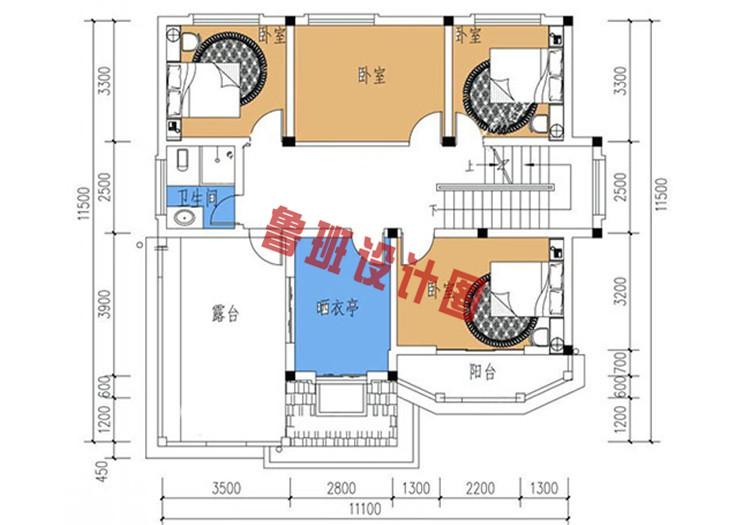 三层复式别墅设计三层户型图