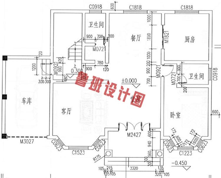 三层带独立车库别墅设计一层户型图