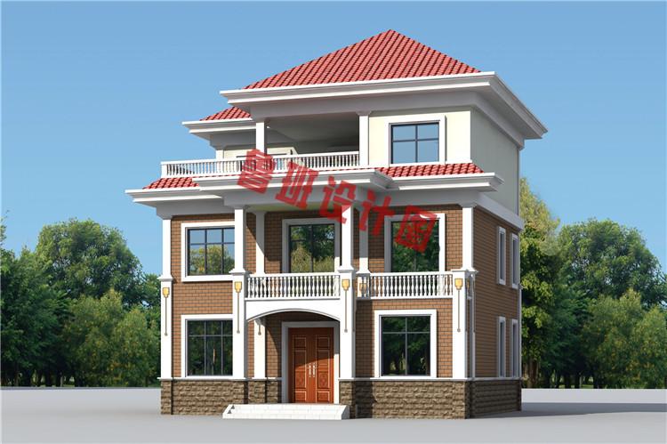 三层现代风格农村别墅设计外观图
