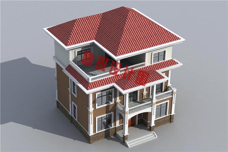三层现代风格农村别墅设计鸟瞰图