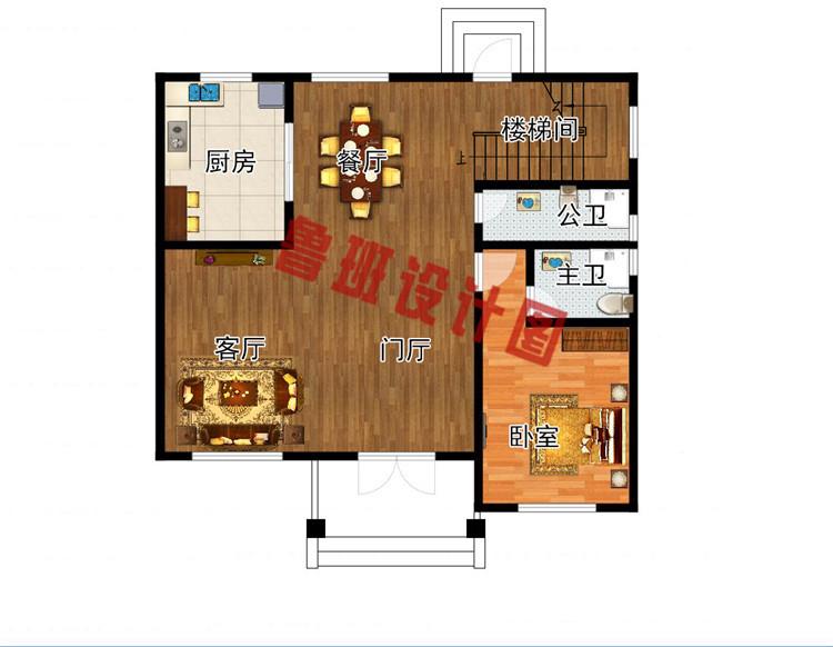 三层现代风格农村别墅设计一层户型图