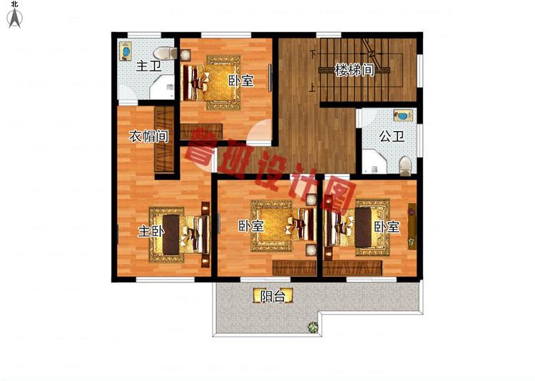 三层现代风格农村别墅设计二层户型图
