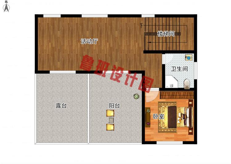 三层现代风格农村别墅设计三层户型图