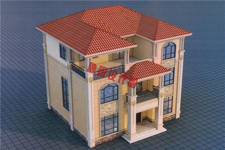 典雅欧式三层别墅设计鸟瞰图