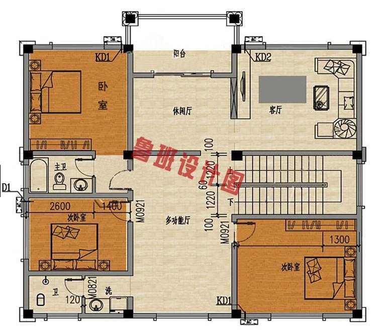 典雅欧式三层别墅设计二层户型图