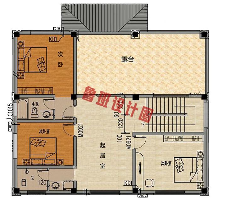 典雅欧式三层别墅设计三层户型图