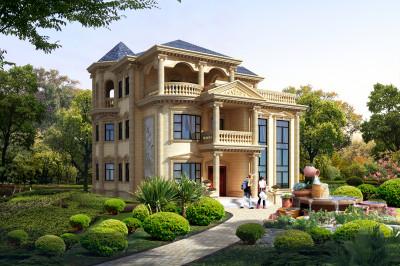 高端欧式三层别墅房屋设计图,外观如宫殿般的豪华大气,