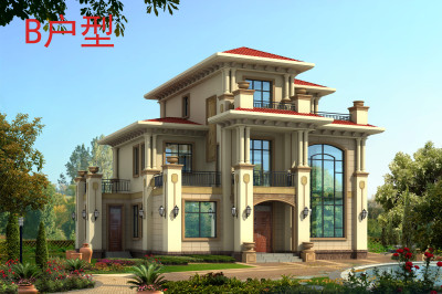150平三层欧式别墅设计图,外观图精致大气