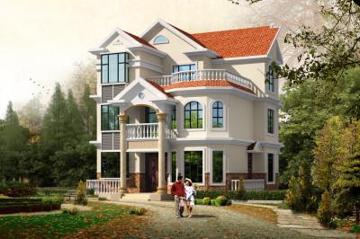 三层110平方别墅设计图,含外观图片,欧式风格-农村三层楼房造价1