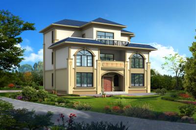 左右对称欧式豪华三层农村别墅设计图,外观端庄大气。
