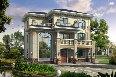 独栋农村三层欧式自建房别墅设计图,带大露台+客厅中空。