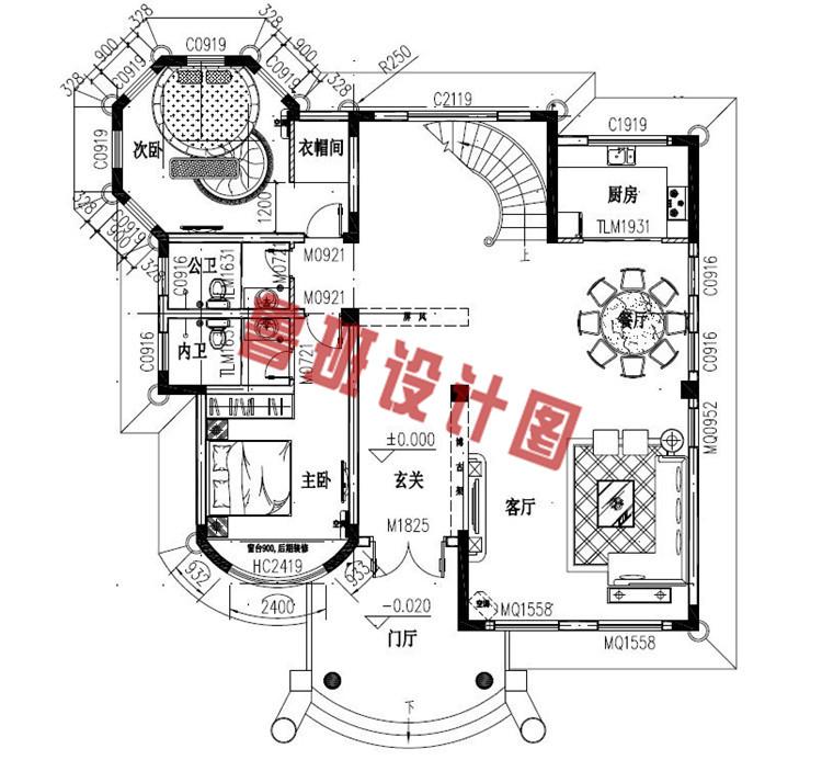 富有高级感的欧式三层别墅设计一层户型图