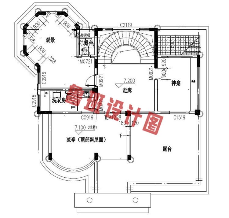 富有高级感的欧式三层别墅设计三层户型图