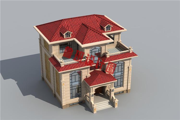 欧式三层别墅设计鸟瞰图