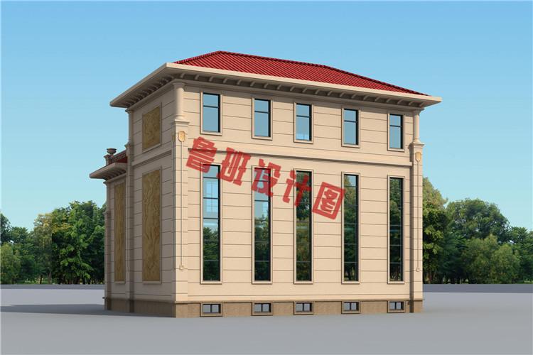 欧式三层别墅设计背面图