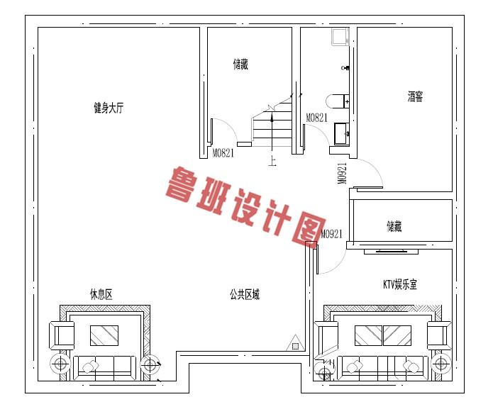 欧式三层别墅设计地下一层户型图