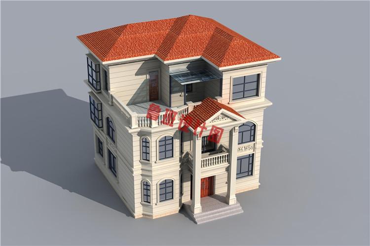 美式三层自建小别墅设计鸟瞰图