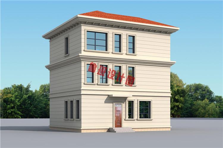 美式三层自建小别墅设计外观图