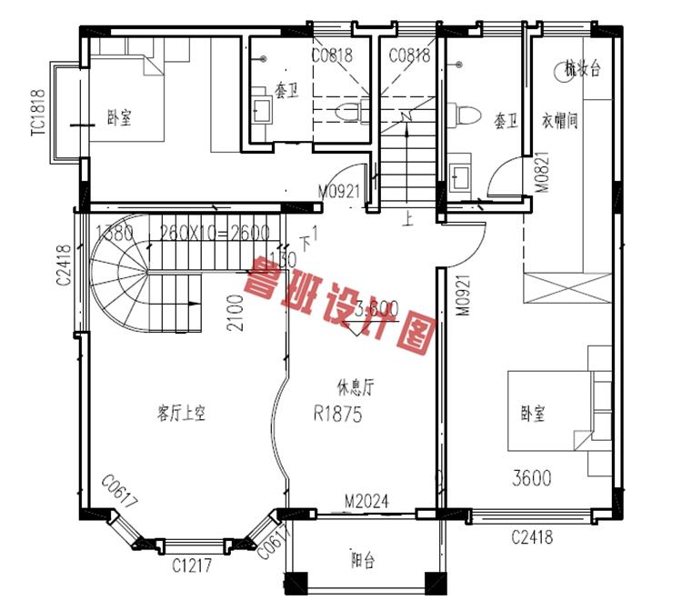 美式三层自建小别墅设计二层户型图
