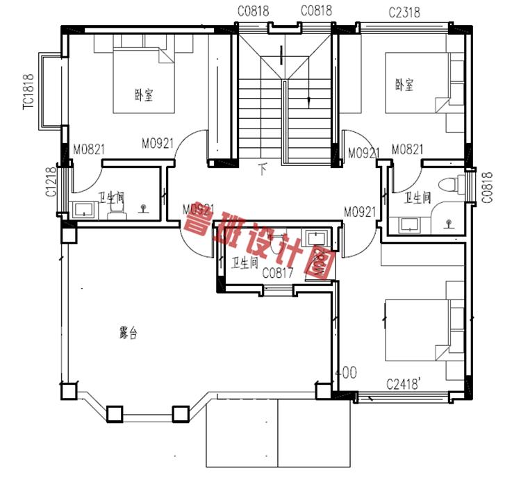 美式三层自建小别墅设计三层户型图