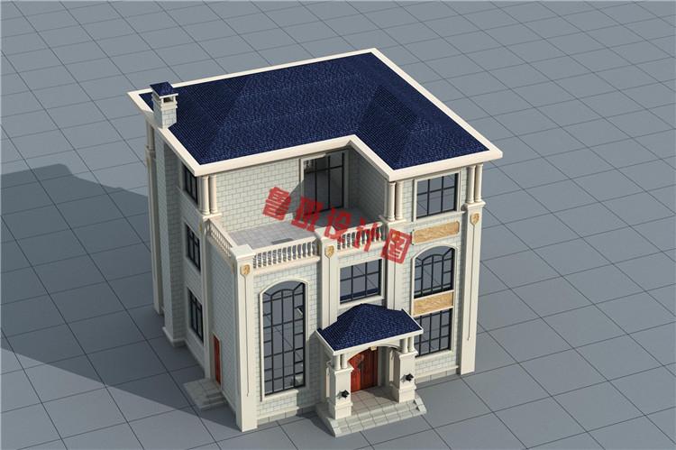 120平三层欧式豪华房屋设计鸟瞰图