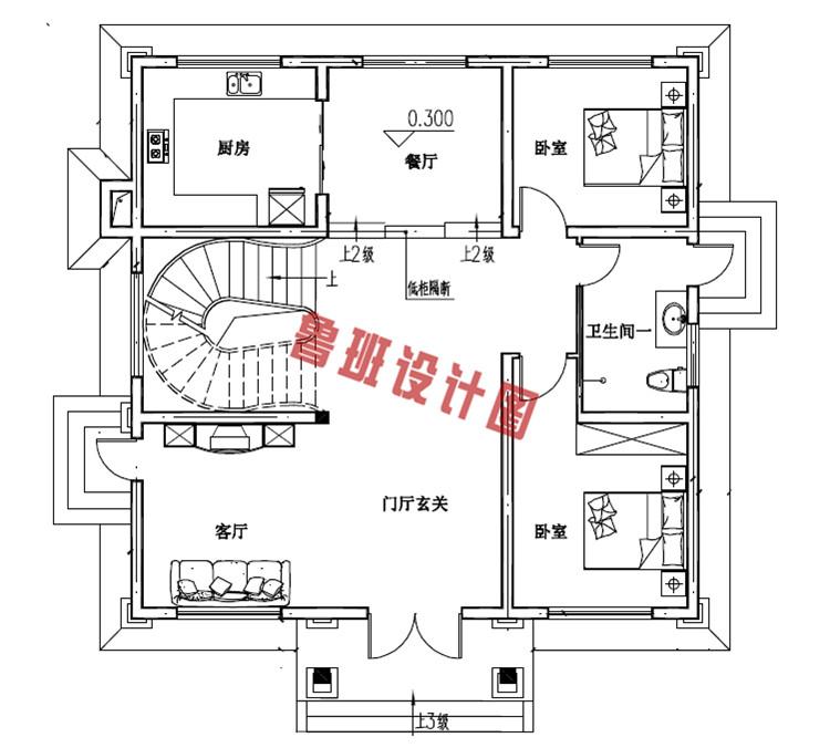 120平三层欧式豪华房屋设计一层户型图