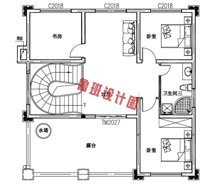 120平三层欧式豪华房屋设计三层户型图