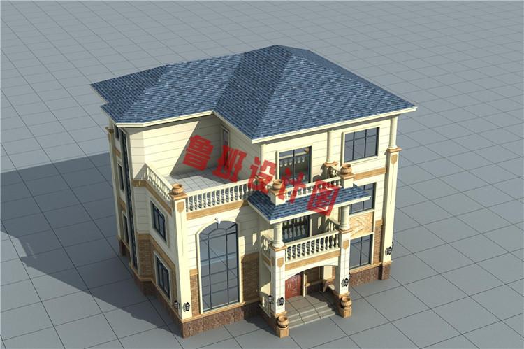 三层欧式别墅设计鸟瞰图