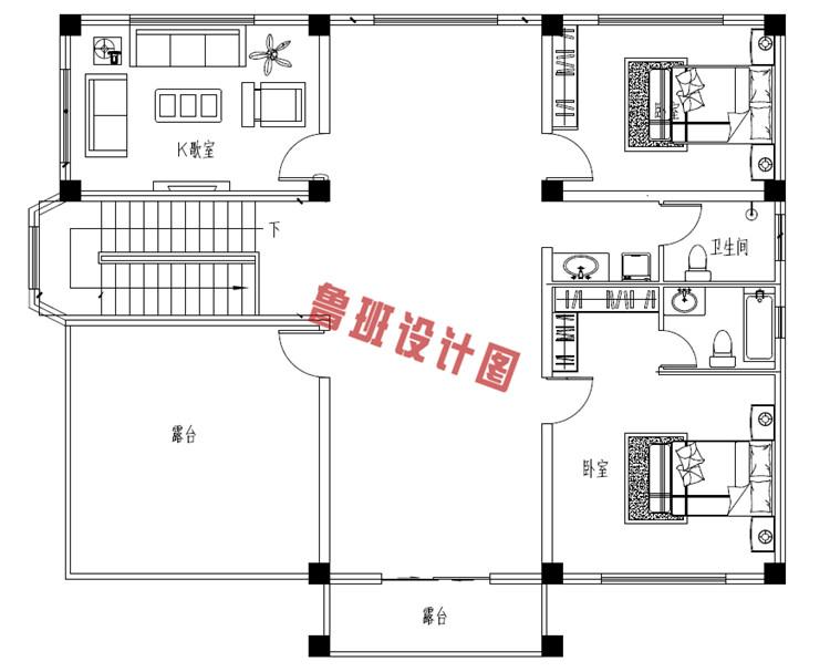 三层欧式别墅设计三层户型图