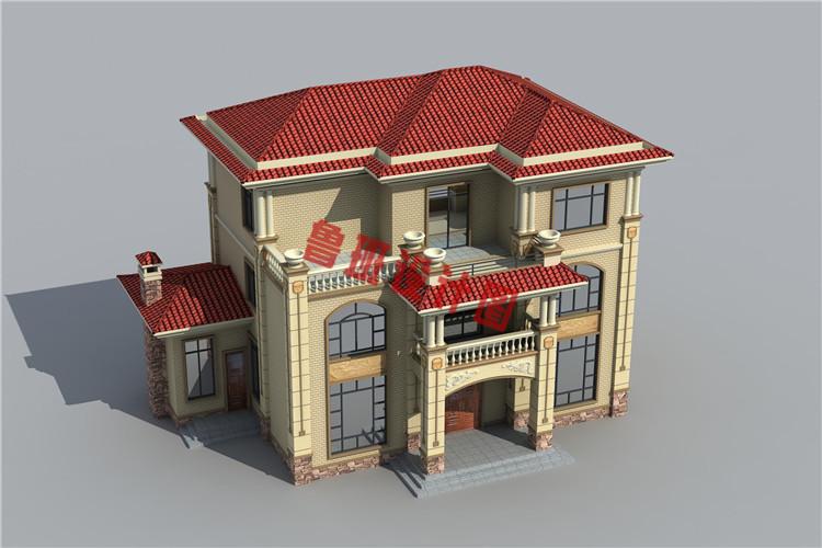 经济实用的三层农村别墅设计鸟瞰图