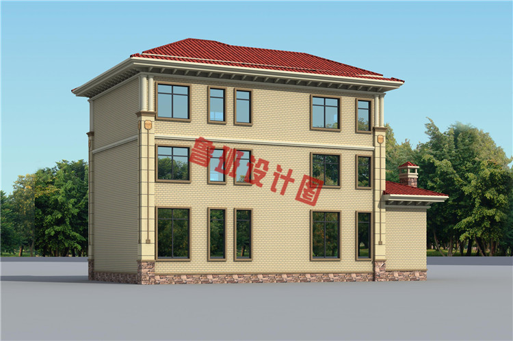 经济实用的三层农村别墅设计外观图