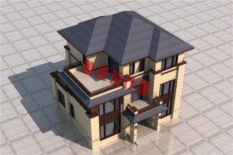 新中式独栋三层别墅设计鸟瞰图