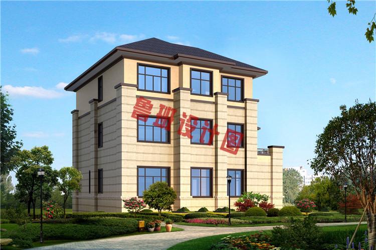 新中式独栋三层别墅设计背面图