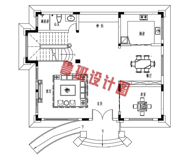 新款热销田园风三层小别墅一层户型图