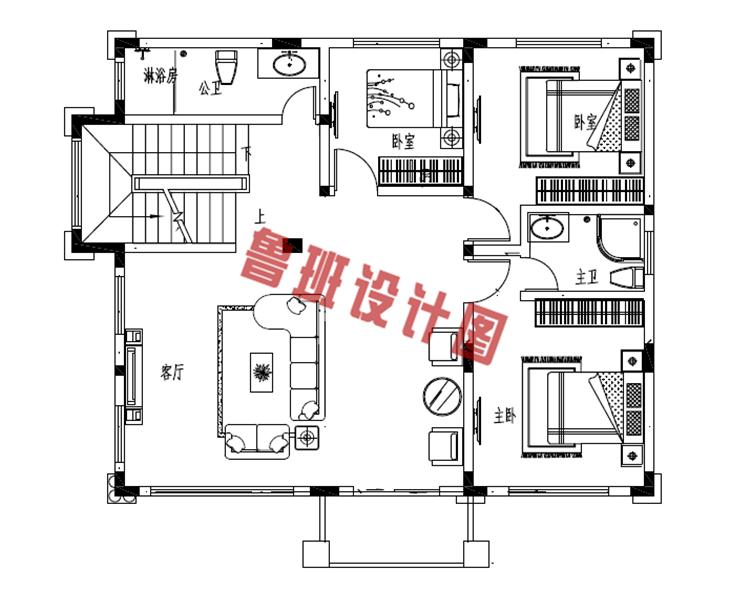 新款热销田园风三层小别墅二层户型图