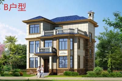 农村30万别墅款式图片,带设计户型图,客厅宽敞。