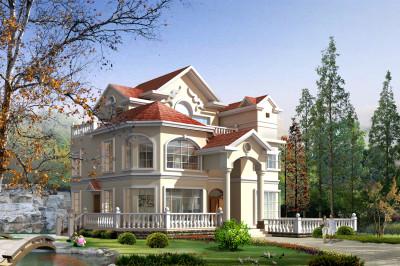 农村三层欧式别墅设计图,纯正欧式分割,外观精致漂亮