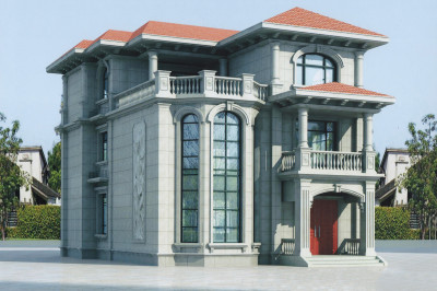 农村50万别墅款式三层设计图,户型很周正,通透实用。